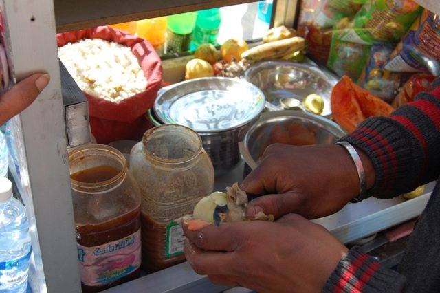 Chaat preparation at Silent Valley.