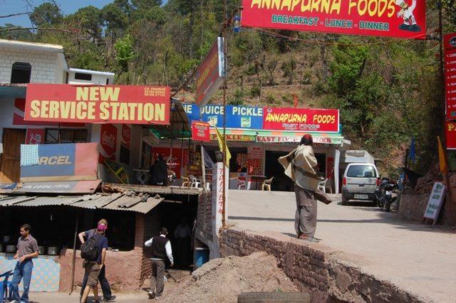 Colorful sign boards - Breakfast at the highway between Shimla - Kalka.