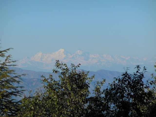 Snowcapped peak view from Tarkeshwar Mahadev Temple.