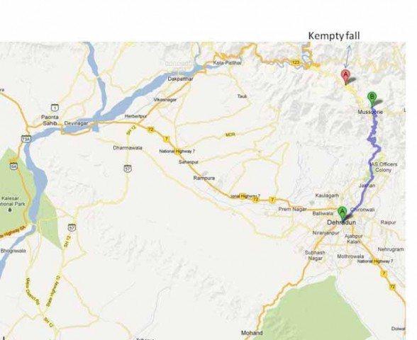पोंटा साहिब से कैम्पटी फॉल –गुगल मैप