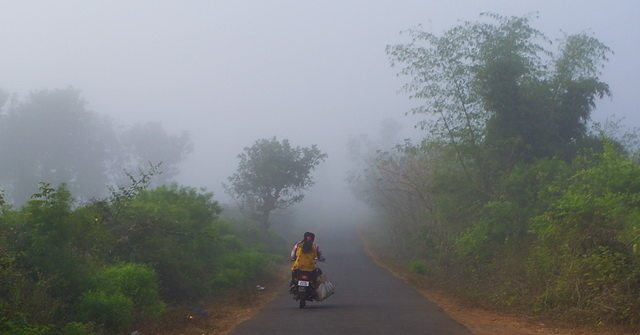 A thick fog envelops the road to Lammasingi