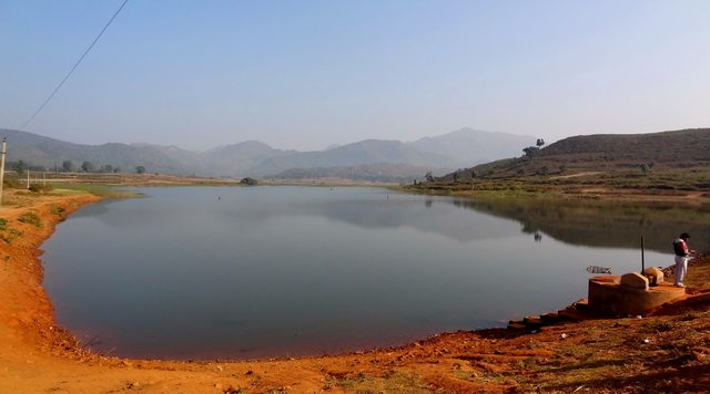 An artificial waterbody created by a check-dam at Tajangi