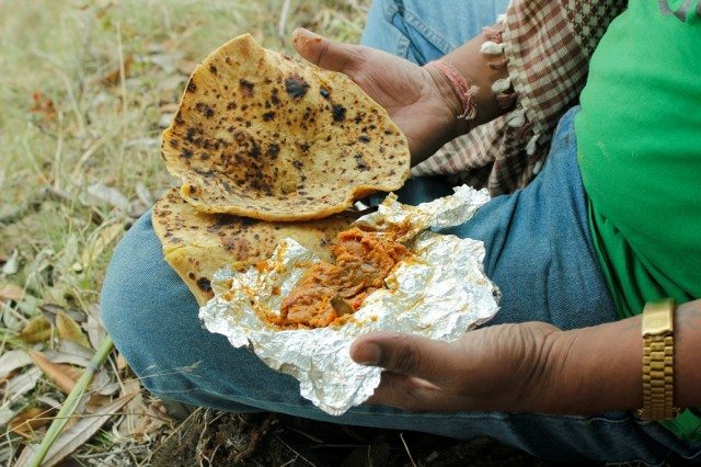 Paratha and achar breakfast