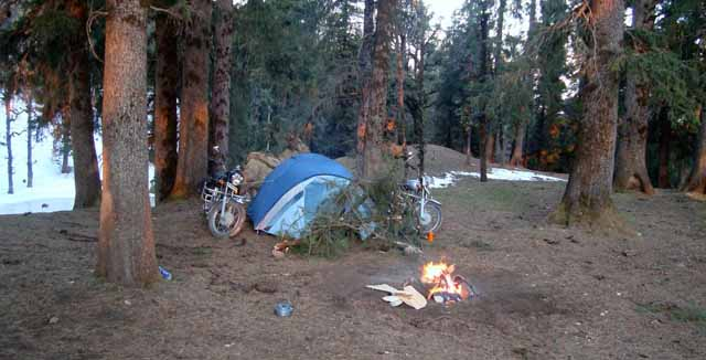 Early morning view of the campsite
