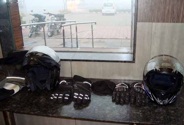 At McDonalds on Khatauli By-pass – Foggy visors, bullets, and fog outside are all to be seen