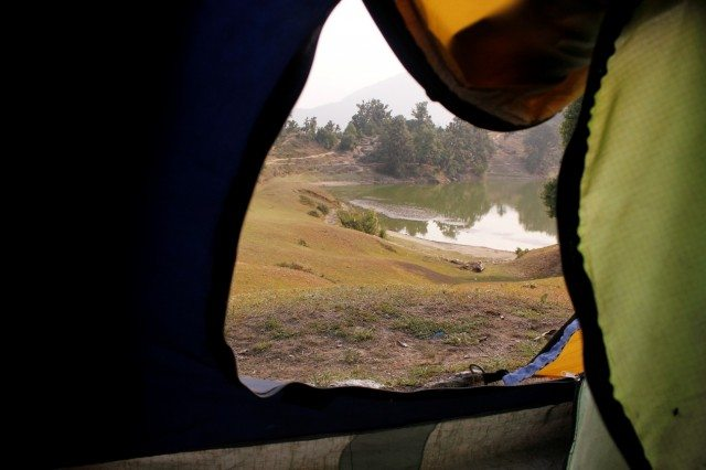 View of the lake from inside my tent