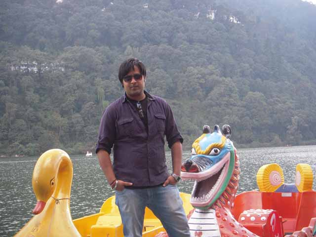 Kshitij posing ahead of Nainital lake