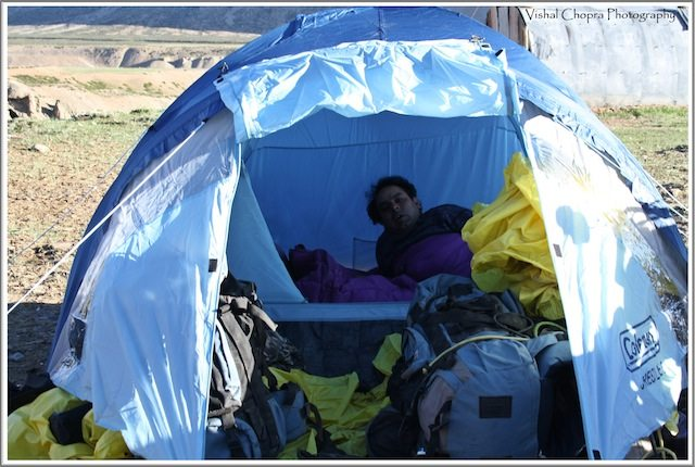 Surya in Tent at Sarchu