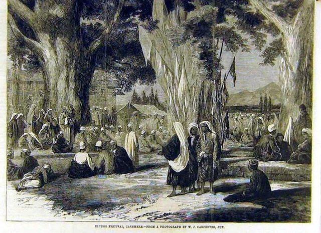 Hindu festival, kir bhawani, Cashmere,by William Carpenter  1858