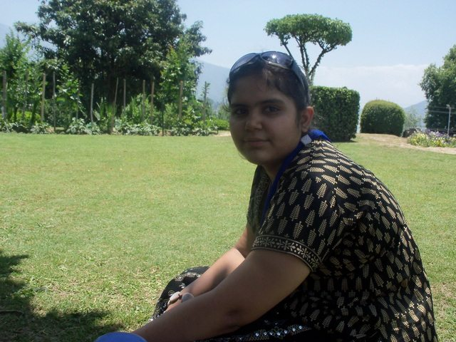 Bhakti sitting in the Bagh