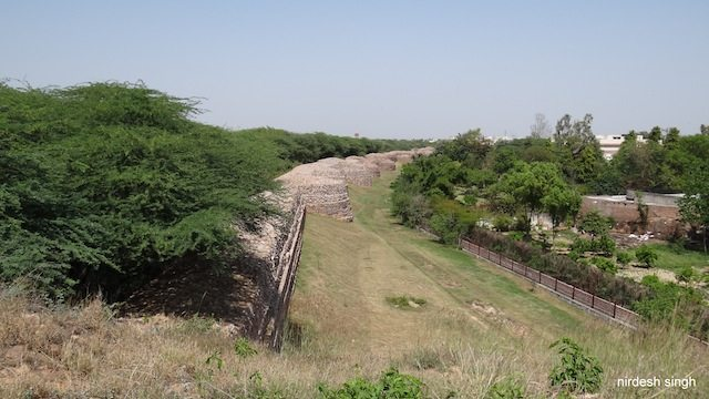 Qila Rai Pithora - View from corner bastion - MB Road