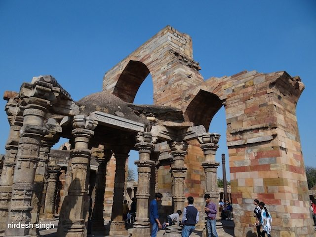 Temple Pillars at Qutub Complex