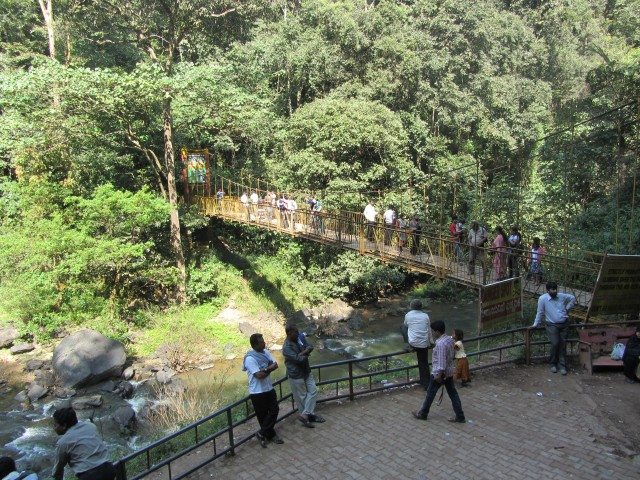 The Hanging Bridge in front of the falls