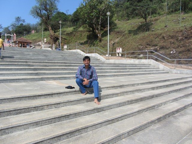On the steps leading upto the birthplace of Cauvery