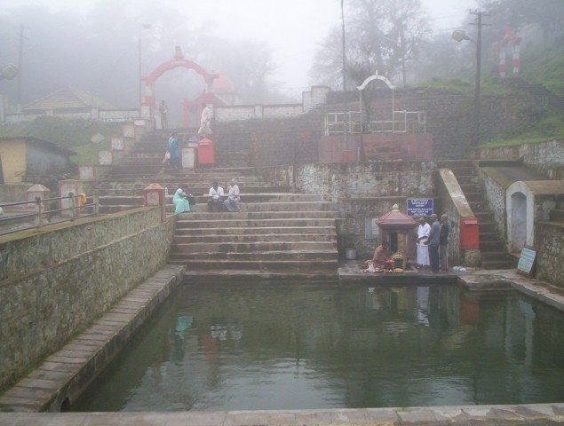 An old file picture of Cauvery Janmasthan at Talakaveri(wikipedia)