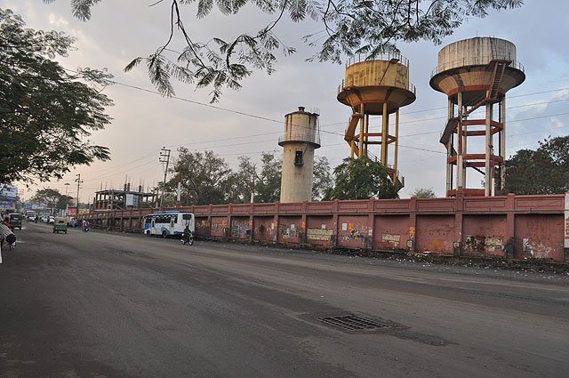 An important landmark at Indore Railway Station - Triple overhead tanks.