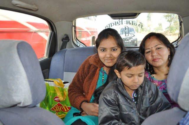 Back benchers in the car! Sanskriti, Shivam & Kavita.