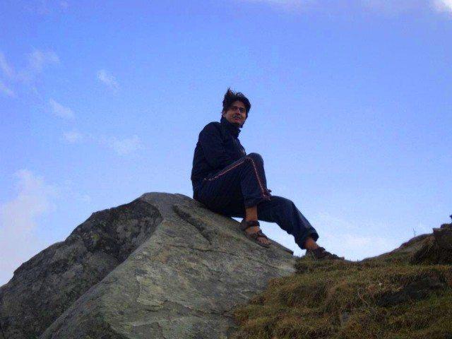 Posing on a rock