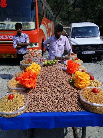 Beautiful display of peanuts in a village fair.