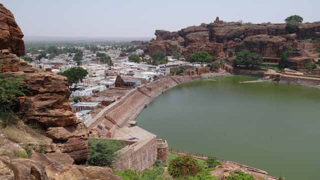 North Hill, Lake and Badami Town - View from South Hill