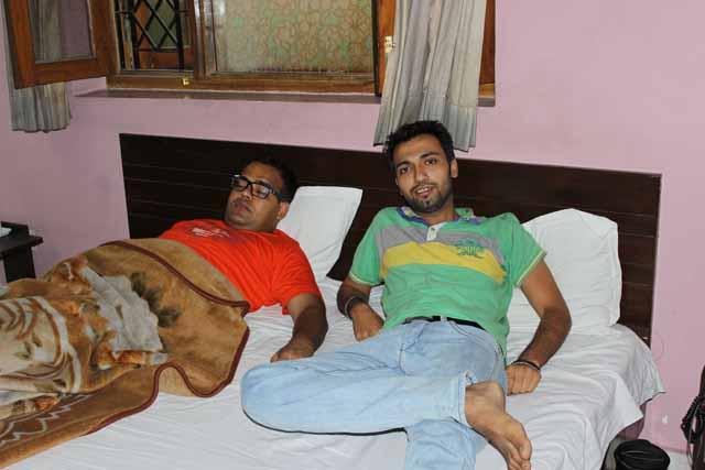 Rajesh and Gurdeep resting in hotel at Dehradun