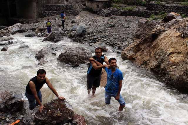 Fun at waterfall