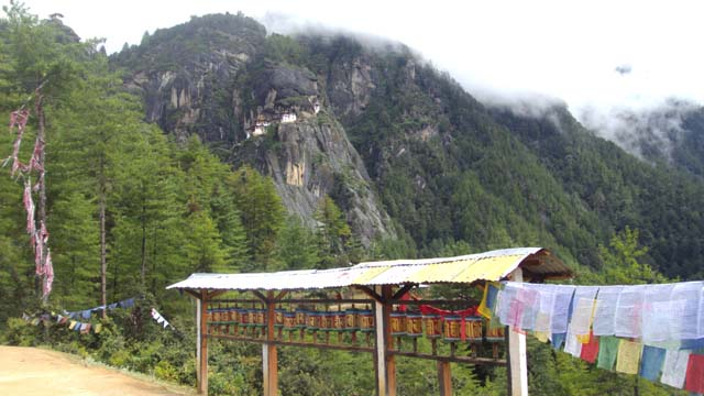 A view of Taksang Gompa from the Prayer Wheel Ground