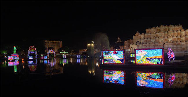 Durga Puja: sparkling lights and reflection on the water
