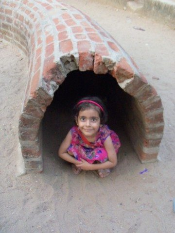 Pavani, enjoying in one of the structures