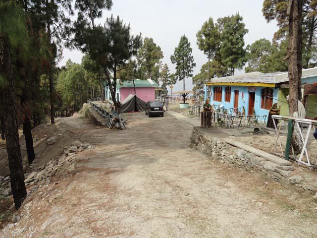 बाएँ विशाल जंगल, दायें  रिसोर्ट और बीच में गाँव की तरफ जाता रास्ता, तीनों आपसी सामंजस्य में एक दुसरे के पूरक