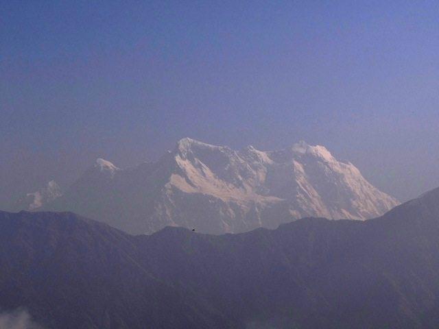 Chaukhamba, after much enhancement... extremely hazy atmosphere