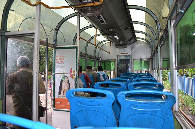Inside of a Tram in Kolkata