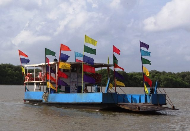 Ferry decorated with Flags