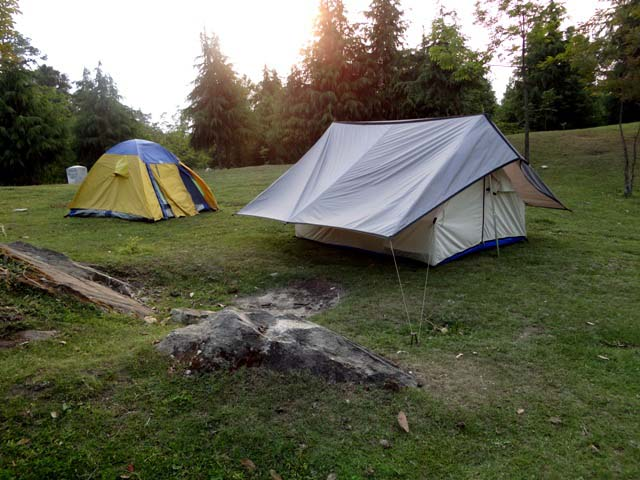Our tents at the lake side