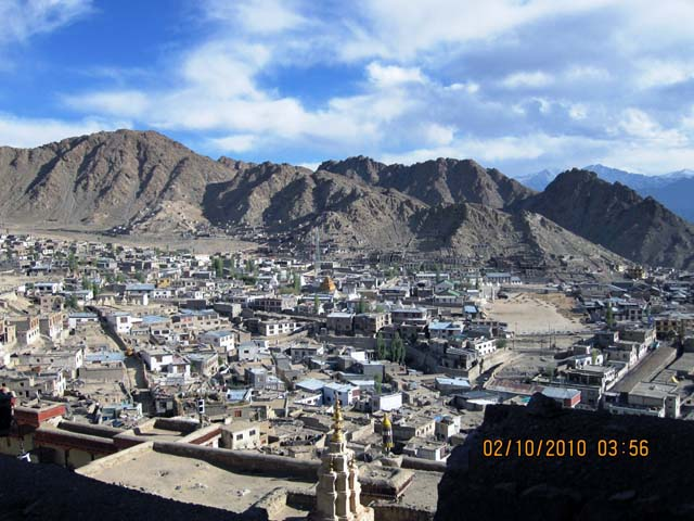 Leh town from city palace