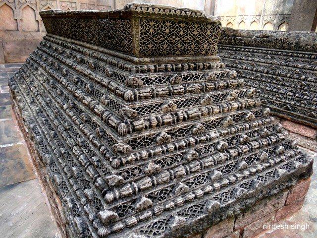 Bada Madarsa - Black Stone Carved Gravestones