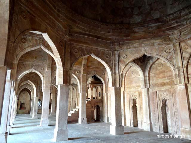 Chanderi - Jama Masjid's Prayer Hall with Mihrabs and Minbar