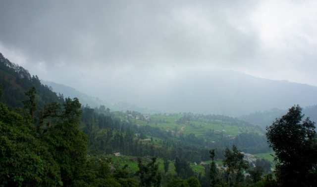 Kareri Village through a misty cloudy sky