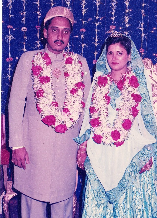 Dr Taher and Nishrin on the day of their wedding