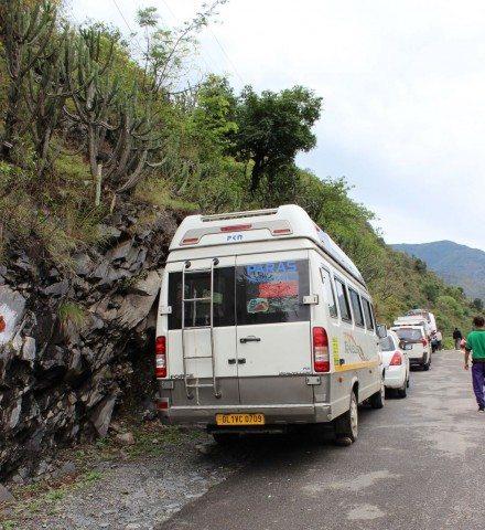 Queue of vehicles