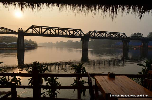 River kwai bridge from the floating restaurant