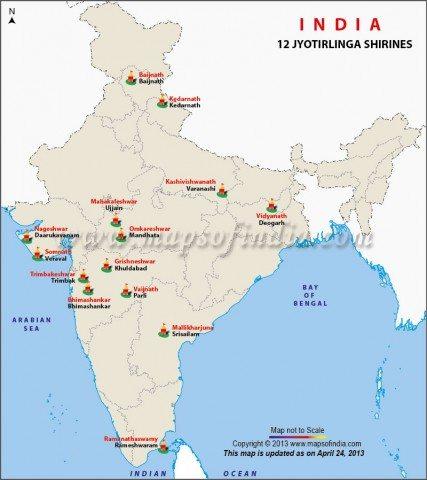 12 Jyotirlinga - by MapsofIndia