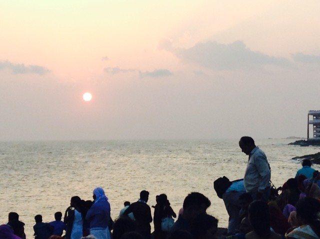 Gathering before the sunrise at Kanyakumari