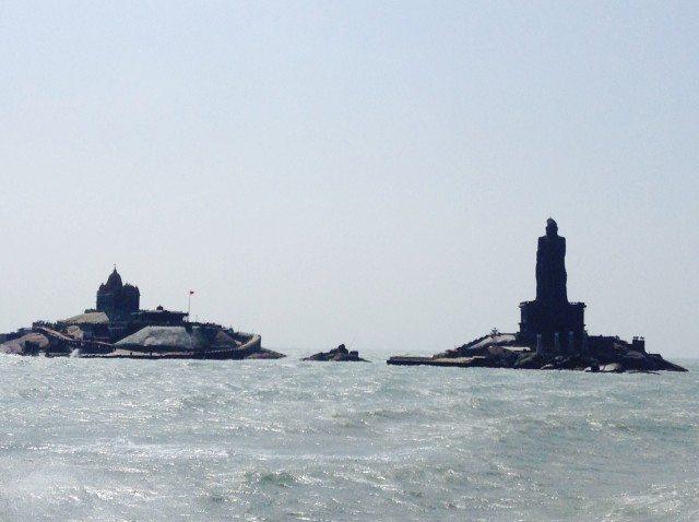 View of Vivekananda Rock Memorial and statue of Thiruvalluvar