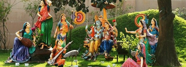 Swing on the Kadamb tree and Radha-Krishna sitting on the swing