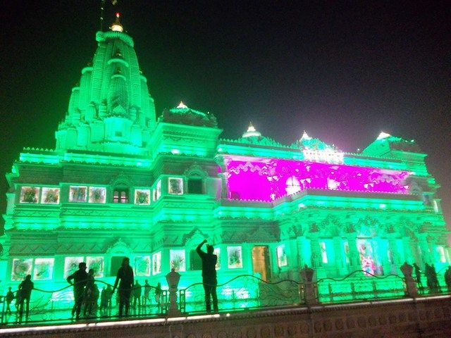 Different shades of Prem Mandir with LED lighting