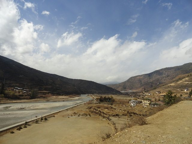 Beautiful river Paro ahead of Paro town