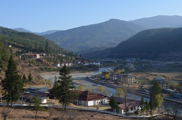 View of Paro Valley from Paro Dzong