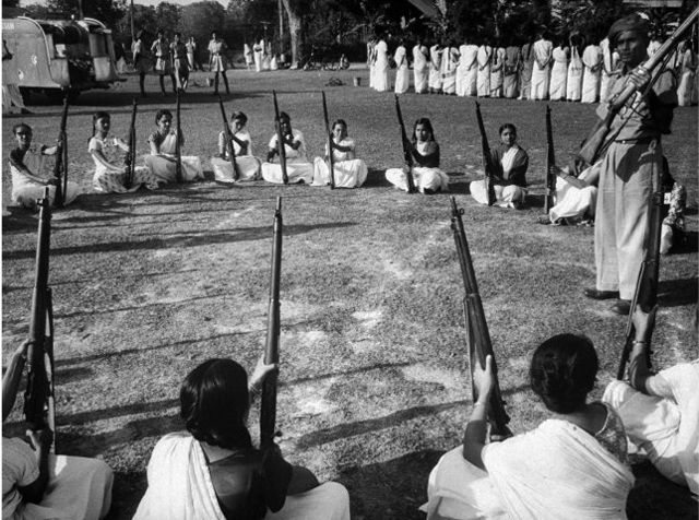 Young women in military training during India-China war, Nov.1962