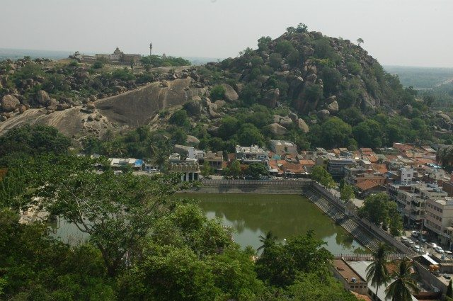 View of Chandragiri hill and the lake